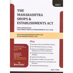 Maharashtra Shops and Establishment Act, 1948 Bare Act by Adv. S. D. Puri - Snow White Publications