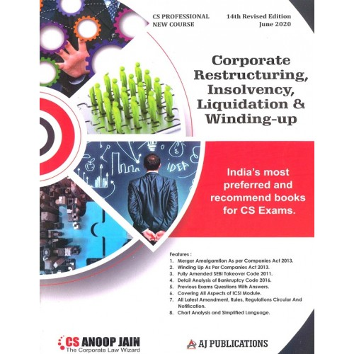 Anoop Jain's Corporate Restructuring, Insolvency, Liquidation & Winding-Up for CS Professional June 2020 Exam [New Course/Syllabus] by Aj Publications | Free Delivery