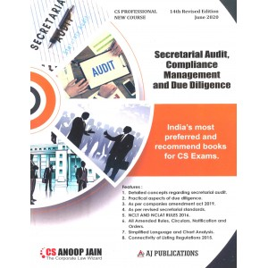 Anoop Jain's Secretarial Audit, Compliance Management and Due Diligence for CS Professional June 2020 Exam [New Syllabus] by AJ Publications | Free Delivery