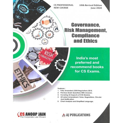 Anoop Jain's Governance, Risk Management, Compliance and Ethics for CS Professional June 2020 Exam [New Syllabus] by AJ Publication | Free Delivery