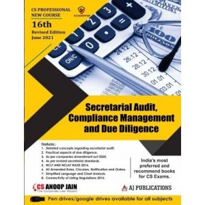 Anoop Jain's Secretarial Audit, Compliance Management and Due Diligence for CS Professional June 2021 Exam [New Syllabus] by AJ Publications