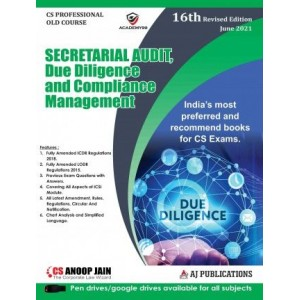Anoop Jain's Secretarial Audit, Due Diligence and Compliance Management for CS Professional June 2021 Exam [Old Syllabus] by AJ Publications