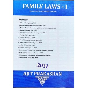 Ajit Prakashan's Family Laws I (Bare Acts with Short Notes)