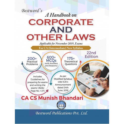 Munish Bhandari's A Handbook on Corporate & Other Laws for CA Intermediate November 2019 Exam [New Syllabus] by Bestword Publications