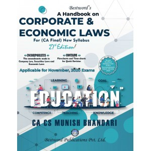Munish Bhandari's Handbook on Corporate & Economic Laws for CA Final November 2020 Exam [New Syllabus] by Bestword Publications