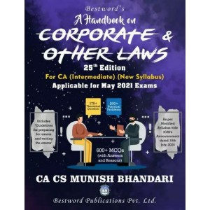 Munish Bhandari's A Handbook on Corporate & Other Laws for CA Intermediate May 2021 Exam [New Syllabus] by Bestword Publications