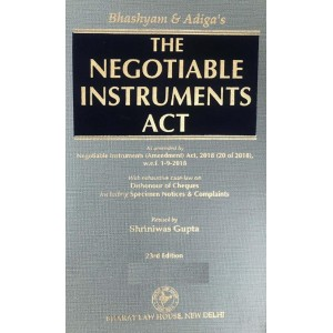 Bhashyam & Adiga's The Negotiable Instruments Act [HB] by Shriniwas Gupta for Bharat Law House