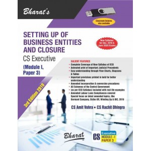 Bharat's Setting Up of Business Entities and Closure for CS Executive December 2019 Exam [New Syllabus] by CS. Amit Vohra, CS. Rachit Dhingra