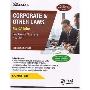 Bharat's Corporate & Other Laws [Problems & Solutions & MCQs] for CA Inter May 2020 Exam [New Syllabus] by CA. Amit Popli