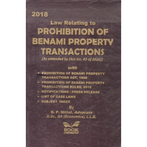 Book Corporation's Law Relating to Prohibition of Benami Property Transactions by D. P. Mittal