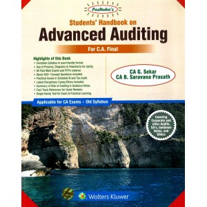 Padhuka's Students Handbook on Advanced Auditing for CA Final November 2019 Exam [Old Syllabus] by CA. G. Sekar | Wolters Kluwer