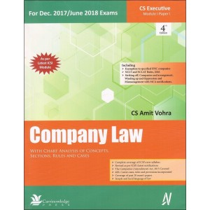 Carvinowledge Press's Company Law For CS Executive Module 1 Paper 1 Dec 2017 / June 2018 Exam by CS Amit Vohra