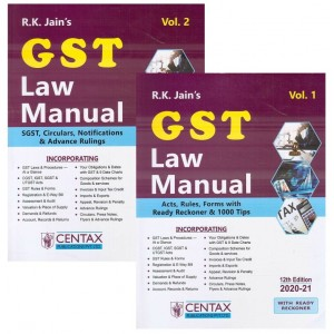 R. K. Jain's GST Law Manual 2020-21 by Centax Publication [2 Vols]
