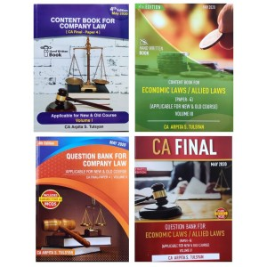 Arpita Tulsyan's Company Law & Economic Laws & Allied Laws Handwritten Book for CA Final May 2020  Exam [New & Old Syllabus] in 4 Volumes