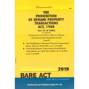 Commercial's The Prohibition of Benami Property Transactions Act, 1988 Bare Act