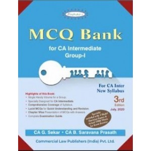 Padhuka's MCQ Bank for CA Intermediate Group I November 2020 Exam [New Syllabus] by CA. G. Sekar, CA. B. Saravana Prasath | Commercial Law Publisher