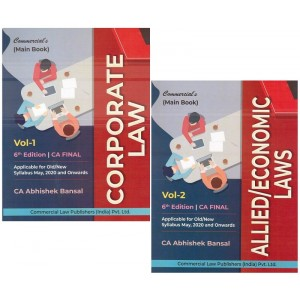 Commercial's Corporate Law & Allied / Economic Laws Main Book For CA Final May 2020 Exam [Old & New Syllabus] by CA Abhishek Bansal [2 Volumes]