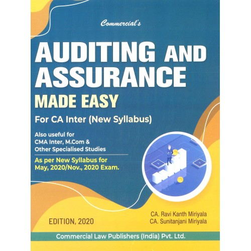 Commercial's Auditing & Assurance Made Easy for CA Inter May 2020 Exam [New Syllabus] by CA. Ravi Kanth Miriyala, CA. Sunitanjani Mariyala