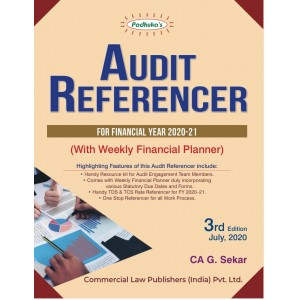 Padhuka's Audit Referencer for Financial Year 2020-21 with Weekly Financial Planner by G. Sekar | Commercial Law Publisher