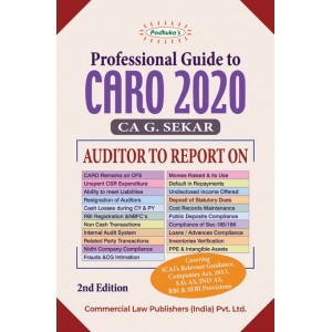 Padhuka's Professional Guide to CARO 2020 by CA. G. Sekar | Commercial Law Publisher