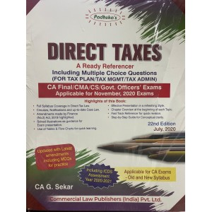 Padhuka's Direct Taxes Ready Referencer for CA Final November 2020 Exam [Old & New Syllabus] by CA. G. Sekar| Commercial Law Publisher