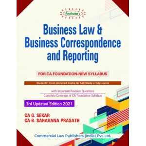 Padhuka's Business Law & Business Correspondence & Reporting for CA Foundation May 2021 Exam by CA. G. Sekar, CA. B. Saravana Prasath | Commercial Law Publisher