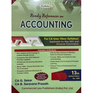 Padhuka's Ready Referencer on Accounting for CA Inter May 2021 Exam [New Syllabus] by CA. G. Sekar, CA. B. Saravana Prasath| Commercial Law Publisher