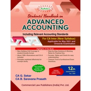 Padhuka's Students Handbook on Advanced Accounting for CA Inter May 2021 Exam (New Syllabus) by CA. G. Sekar & CA. Sarvana Prasath | Commercial Law Publisher