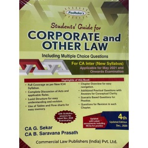 Padhuka's Students Guide for Corporate & Other Laws with MCQs for CA Inter May 2021 Exam [New Syllabus] by CA. G. Sekar & CA. B. Saravana Prasath | Commercial Law Publisher