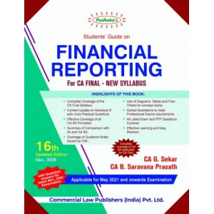 Padhuka's Students Guide On Financial Reporting for CA Final May 2021 Exam [New Syllabus] by CA. G. Sekar, CA. B. Saravana Prasath | Commercial Law Publisher