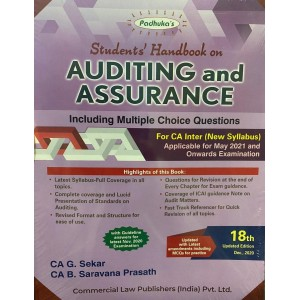 Padhuka's Students Handbook on Auditing & Assurance for CA Inter May 2021 Exam by CA. G. Sekar & CA B. Saravana Prasath (New Syllabus) | Commercial Law Publisher