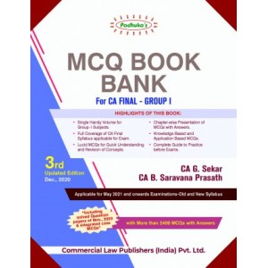 Padhuka's MCQ Book Bank for CA Final Group I May 2021 Exam [Old & New Syllabus] by CA. G. Sekar, CA. B. Saravana Prasath (Containing Advanced Auditing & Professional Ethics, Corporate & Economic Laws / Allied Laws)