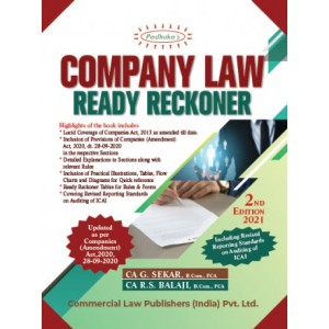Padhuka's Company Law Ready Reckoner 2020 by CA. G. Sekar, CA. R.S. Balaji | Commercial Law Publisher