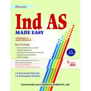 Commercial's IND AS Made Easy for CA Final May 2021 Exam [New Syllabus] by CA. Ravi Kanth Miriyala, CA. Sunitanjani Miriyala