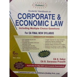 Padhuka's Students Handbook on Corporate & Economic Law with MCQs for CA Final May 2021 Exam [New Syllabus] by CA. G. Sekar, CA. B. Saravana Prasath | Commercial Law Publisher
