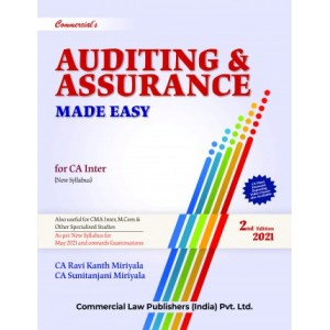 Commercial's Auditing & Assurance Made Easy for CA Inter May 2021 Exam [New Syllabus] by CA. Ravi Kanth Miriyala, CA. Sunitanjani Mariyala