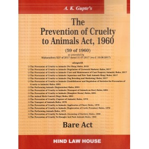 Hind Law House's The Prevention of Cruelty to Animals Act, 1960 Bare Act by A. K. Gupte