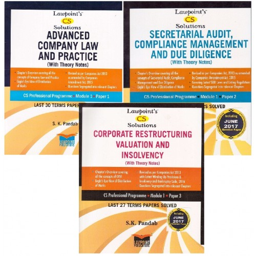 Lawpoint's Combo offer for CS Professional Module 1 December 2017 Exam [Advanced Company Law & Practice, Secretarial Audit, Compliance Mgmt & Due Diligence & Corporate Restructuring, Valuation & Insolvency]