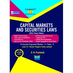 Lawpoint's Capital Markets & Securities Laws For CS Executive Module 2 Paper 6 June 2019 Exam by S. K. Pandab