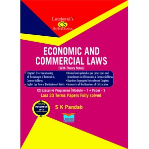 Lawpoint's Economic and Commercial Laws (ECL - With Theory Notes) for CS Executive Module I Paper 3 December 2020 Exam by S. K. Pandab