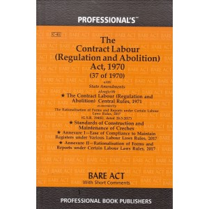 The Contract Labour (Regulation and Abolition) Act, 1970 Bare Act by Professional Book Publishers