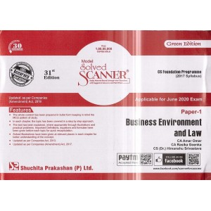 Shuchita Prakashan's Business Environment & Law Solved Scanner for CS Foundation Paper 1 June 2020 Exam (2017 Syllabus) by CA. Amar Omar