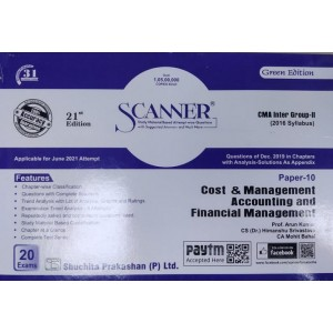 Shuchita Prakashan's Cost & Management Accountancy and Financial Management Solved Scanner for CMA / CWA Inter Group II  Paper 10 June 2021 Exam (Syllabus 2016)