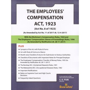 Snow White's The Employees Compensation Act, 1923 Bare Act by Adv. S. D. Puri