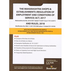 Snow White's The Maharashtra Shops & Establishments (Regulation of Employment and Conditions of Service) Act, 2017 & Rules, 2018 Bare Act