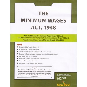 Minimum Wages Act, 1948 Bare Act by Adv. S. D. Puri - Snow White Publications