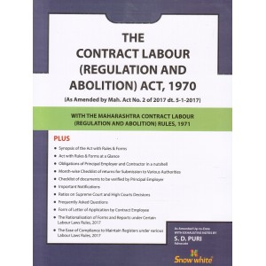 Snow White's Contract Labour (Regulation & Abolition) Act, 1970 Bare Act by Adv. S. D. Puri