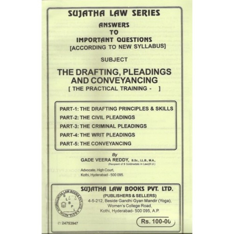 Sujatha's Drafting, Pleadings and Conveyancing for B S L