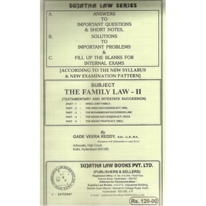 Sujatha's Notes on Family Law-II For B S L & L L B by Gade Veera Reddy