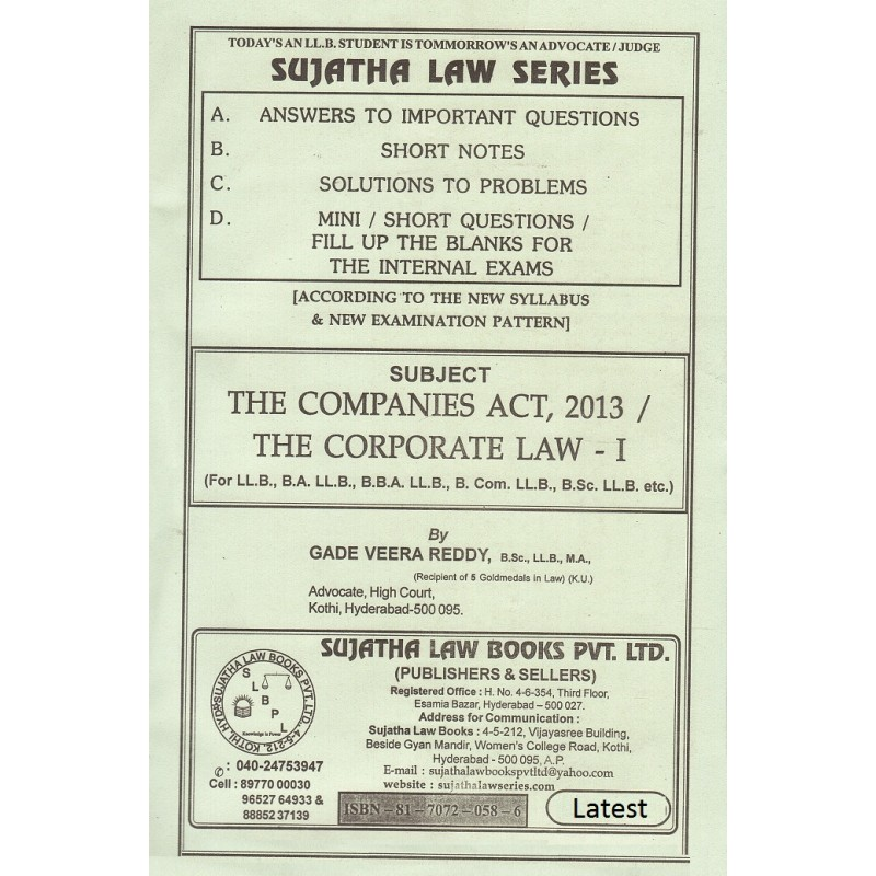 Sujatha's Companies Act, 2013 / The Corporate Law I for BSL
